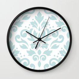 Scroll Damask Lg Pattern Duck Egg Blue on White Wall Clock