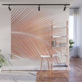 Palm leaf - copper pink Wall Mural