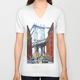 Manhattan Bridge, View From Dumbo Brooklyn Unisex V-Neck