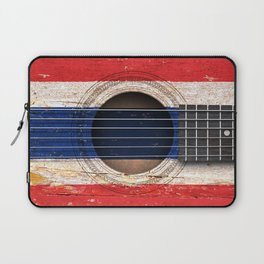 Old Vintage Acoustic Guitar with Thai Flag Laptop Sleeve