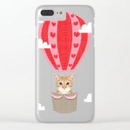 Orange Tabby Cat breed hot air balloon cat art Clear iPhone Case