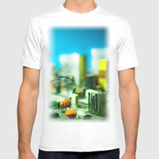 city White Mens Fitted Tee SMALL
