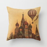 moscow Throw Pillows featuring Moving to Moscow by Terry Fan