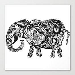 Zentangle Elephant Canvas Print
