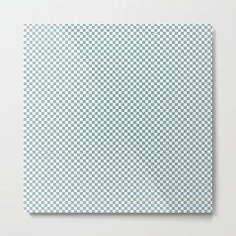 Small Mint Checker Pattern Metal Print