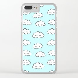 Clouds dreaming in blue with closed eyes and eyelashes Clear iPhone Case