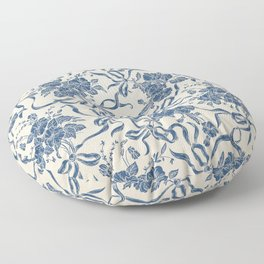 Chic Modern Vintage Ivory Navy Blue Floral Pattern Floor Pillow