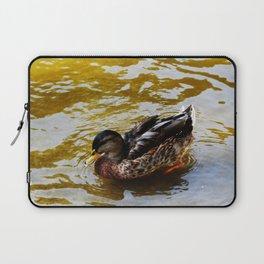 Duck swimming in golden water Laptop Sleeve