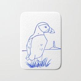 Atlantic Puffin Watercolor Line Drawing Bath Mat