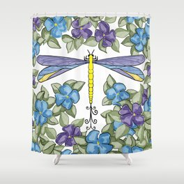 Dragonfly & Impatiens Shower Curtain