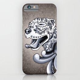Ornamental Pit Bull - Black and Grey Filigree Pitbull iPhone Case