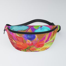 Abstract Colorful Floral Bouquet Fanny Pack