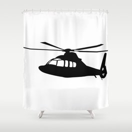 News Helicopter Silhouette Shower Curtain