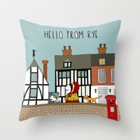 catcher in the rye Throw Pillows featuring Rye Street by Natallia Pavaliayeva