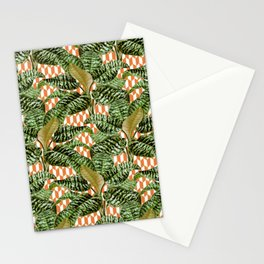 Palms on Checker Parallelogram Pattern - White Coral Gold Stationery Cards