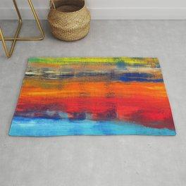 Horizon Blue Orange Red Abstract Art Rug