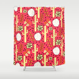 Cacti and butterflies in pink Shower Curtain