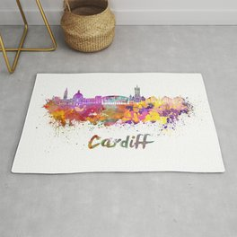Cardiff skyline in watercolor Rug