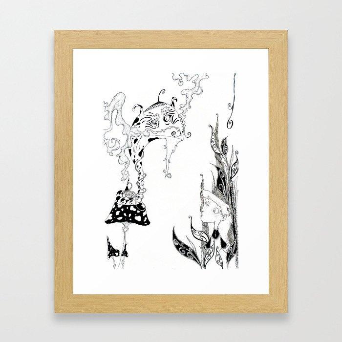 Alice meets Caterpillar Framed Art Print