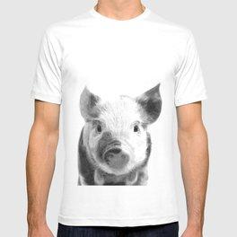 Black and white pig portrait T-shirt