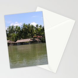 Village on the banks of the Mekong River, Laos Stationery Cards