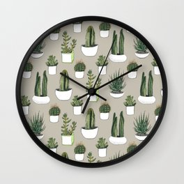 Watercolour cacti & succulents - Beige Wall Clock
