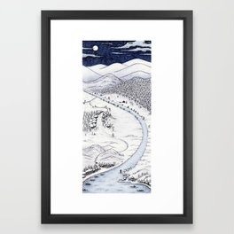 Snowy Night in Japan Framed Art Print