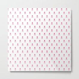 SKULLS PATTERN - HOT PINK - LARGE Metal Print
