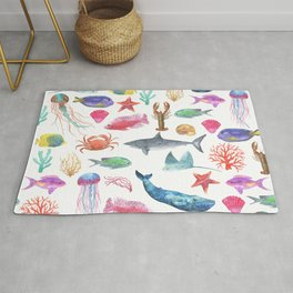 Marine Life, Colorful Ocean Life Fish and Whales in watercolor from Peppermint Creek Rug