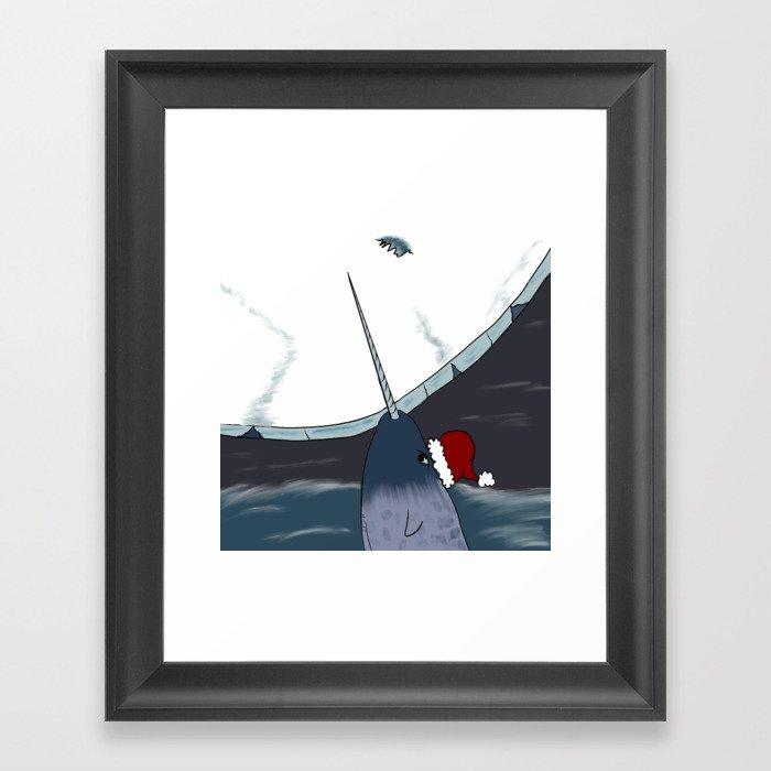 A Narwhal For Christmas Framed Art Print