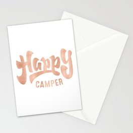 HAPPY CAMPER Rose Gold on Black Stationery Cards