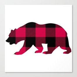 Buffalo Plaid Bear Canvas Print