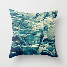 Cracked Rocks Blue Throw Pillow