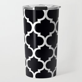 Moroccan Black and White Lattice Moroccan Pattern Travel Mug