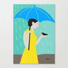 Lady in the Rain Canvas Print