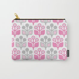 Mid Century Garden Flower Pattern Pink Grey Carry-All Pouch