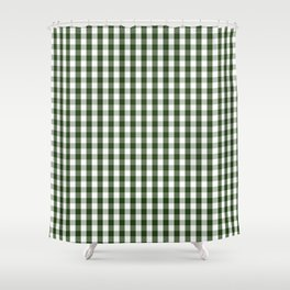 Dark Forest Green and White Gingham Check Shower Curtain