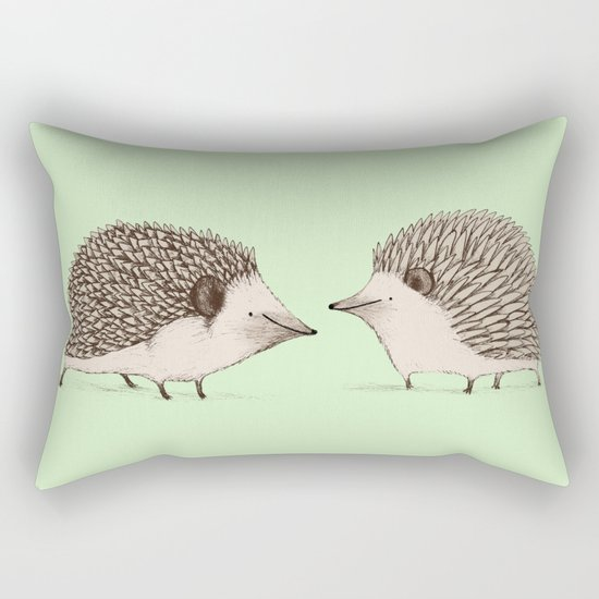Two Hedgehogs Rectangular Pillow