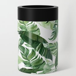 Green leaf watercolor pattern Can Cooler