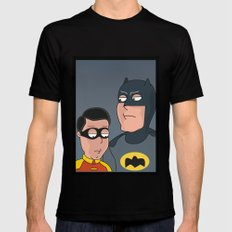 Caped Crusader and the Boy Blunder..... Mens Fitted Tee Black MEDIUM