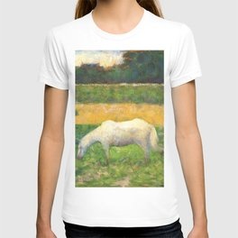 "Georges Seurat ""Paysage avec cheval (Landscape with a white horse)"" T-shirt"