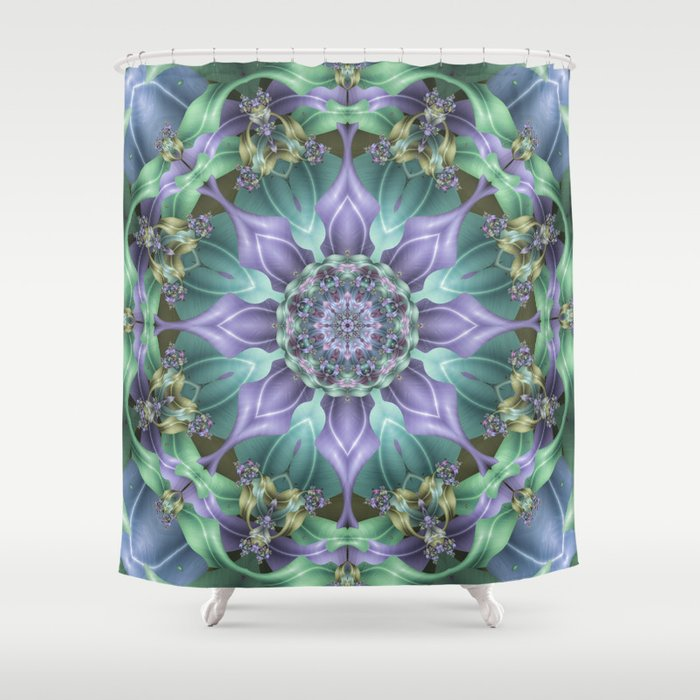 Ribbon Mandala In Blue And Purple Shower Curtain