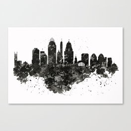 Cincinnati Skyline Black and White Canvas Print