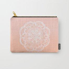 Peach Blush Romantic Flower Mandala #3 #drawing #decor #art #society6 Carry-All Pouch