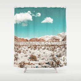 Vintage Desert Snow // Mojave Mountain Range at Red Rock Canyon in Las Vegas Landscape Photograph Shower Curtain