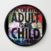 forever young Wall Clocks featuring Forever Young by Eternal