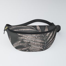 Gray Black Palm Leaves with Rose Gold Glitter #4 #tropical #decor #art #society6 Fanny Pack