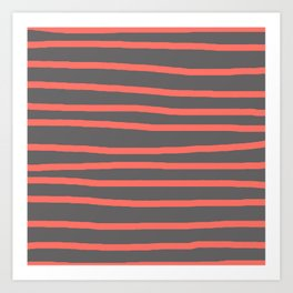 Living Coral Stripes on Gray Art Print