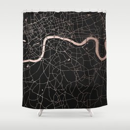 London Black on Rosegold Street Map Shower Curtain