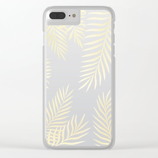 Gold palm leaves on grey Clear iPhone Case